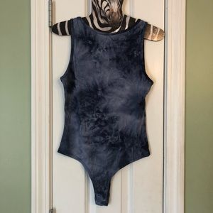 Intimates & Sleepwear - Blue Tie Dye Stretchy Rib Knit Bodysuit